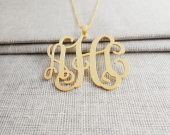 """Gold Monogram Necklace 1.25"""",Custom Monogram Necklace,3 Initials Charm Necklace ,Nameplate Necklace Gold,Bridesmaids Gift,Christmas Gift"""