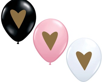 """11"""" Metallic Gold Heart Balloons // 3 Pack // Birthday and Wedding Balloons // Paper and Party Supplies"""