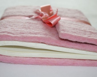 Pink felt back notebook with ribbon