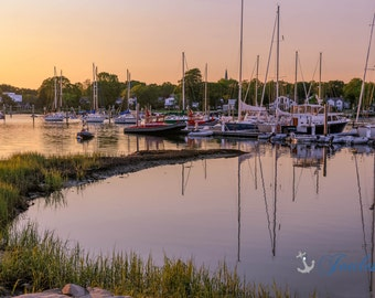 Limited Edition ~ Wickford Reflections ~ Wickford, Rhode Island, Sunset, Boats, Wickford Harbor, Summer, Fine Art Canvas, New England