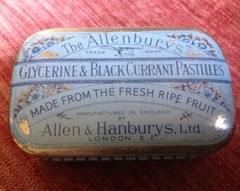 Vintage Allenburys Pastilles Tin 4 x 2 3/4, 1 1/4 tall