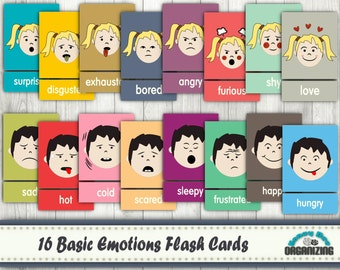 Emotions Flash Cards - Basic Emotions Cards - Blank Cards - Face Expression Cards - Feelings Expression Flash Cards