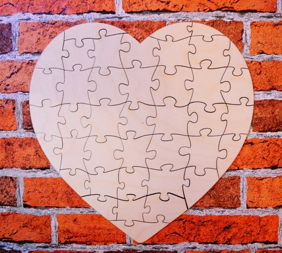 Plain Large Wooden Wedding Guest Book Heart Puzzle By MyKingart