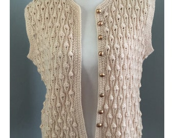 Vintage Gold Button Tan Teardrop Crochet Sweater Vest // Size OSFM