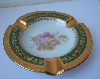 stunning vintage Limoges porcelain round shaped green and gold ashtray