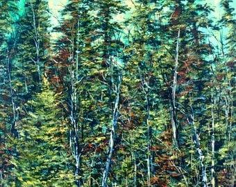 Canadian Valour, Original Canadian Oil Landscape Painting by Stephanie Siemieniuk, fine art, northern, forest, pine trees, jackpine, birches