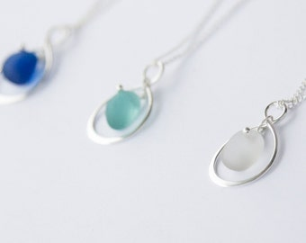Sea Glass bridesmaids necklaces - custom made set of three, made to your requirements.