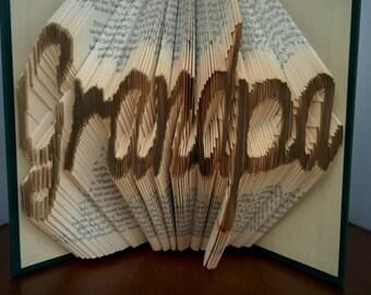 Grandpa - Folded Book Art - Fully Customizable, Grandfather, Papa
