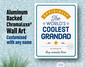 Grandad Gift, Cool Grandad, Personalized Grandad Gift. Birthday Gift For Grandad! Grandad Of The bride, Grandad To Be, Shipped To Your Door!