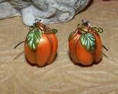 Polymer Clay Holiday Pumpkin Earrings,  Fall Floral Jewelry