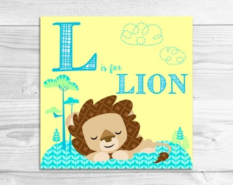 Instant Download: L is for Lion Wall Art Print // Baby Art, Nursery Art, Alphabet Art