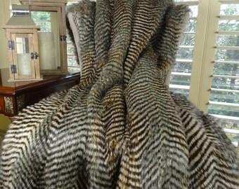 Gray Fox Faux Fur Throw Blanket - Gray Fox Fur Blanket - Soft Gray Faux Fur Throw Pillow - Soft Fox Faux Fur - SKU 16422