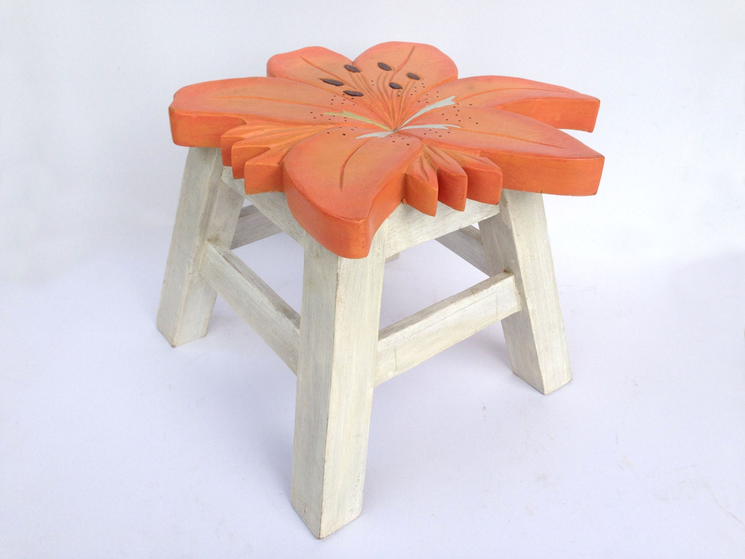 Flower Stool Kids Stool Sitting Stool Hand Painted Wooden