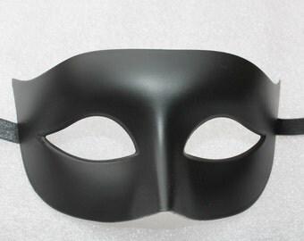 Matt Black Mens Masquerade Mask