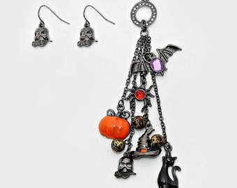 Halloween Pumpkin Spider Pendant Necklace and Earrings