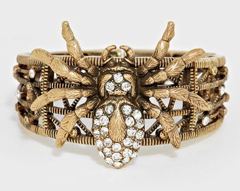 Crystal Pave Spider Stretch Bracelet