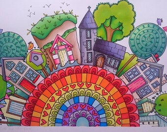 Somewhere over the rainbow - Personalised life story artwork (unframed)