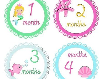 Baby Monthly Girl Stickers Monthly Girl Mermaid Stickers Fish Stickers Waterproof Baby Shower Gift