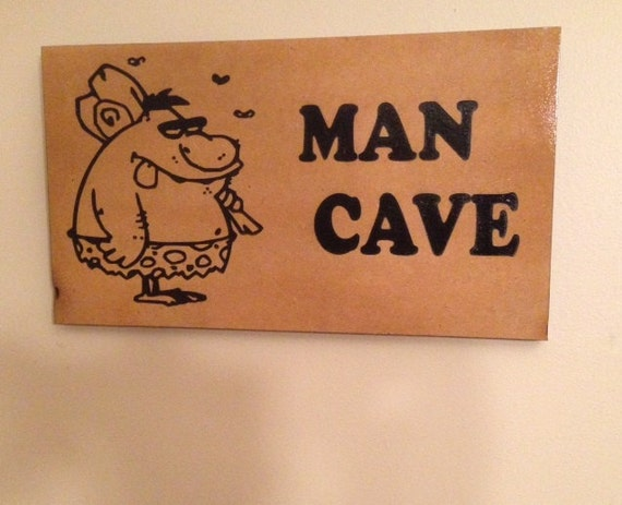 Etsy Caveman Signs : Man cave wood mdf sign with caveman picture