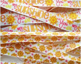 """3/8"""" 7/8"""" Glittered You Are My Sunshine US Designer Grosgrain Ribbon"""