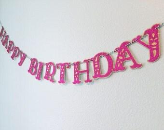 Girls Happy Birthday Party Banner Happy Birthday banner custom party banner kids banner custom party banner girls banner