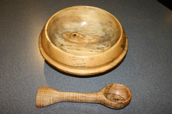 Hand carved spalted maple bowl and spoon