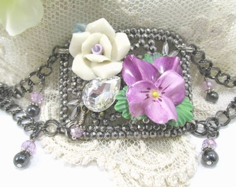 Antique French Shoe Buckle Assemblage Bracelet