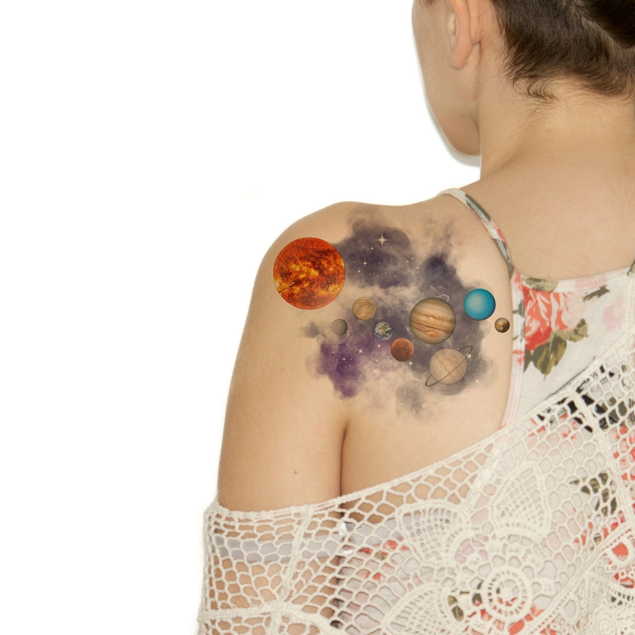watercolor solar system tattoo - photo #8