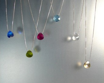 Floating SWAROVSKI crystal Necklace, 925 Sterling Silver Necklace, Minimalist Necklace. Chain 0.8mm. Long: 16, 17, 18, 19, 20, 21, 22, 24 in