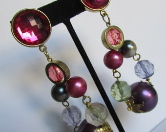Vintage earring- Colorful beaded dangle drop earring- 90s Jewelry