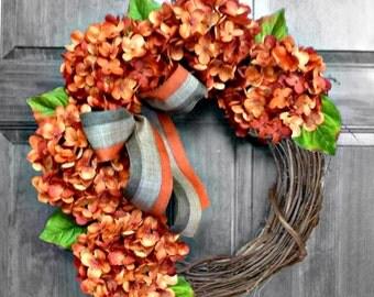 Fall Wreath, Front Door Wreaths, Autumn Wreath, Fall Decor, Fall Wreaths for Front Door, Pumpkin Hydrangea Wreath,