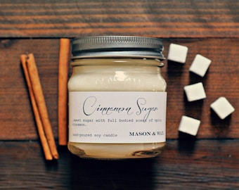 Cinnamon Sugar - Mason Jar Soy Candle - Fall Candle - phthalate free - gift ready - sugar, cinnamom