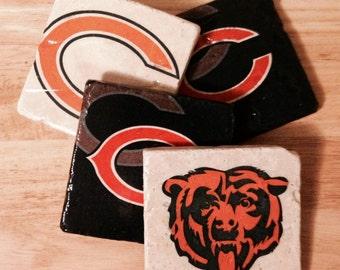 Chicago Bears Coasters ~ Set of 4 Stone Coasters ~Coasters ~ Natural Stone Tile Coasters ~ Football Coasters