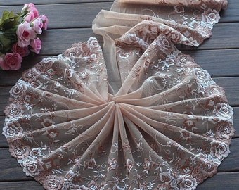 High Quality Floral Embroidered Lace Trim  Tulle Lace Trim 8.66 Inches Wide 2 yards X0155