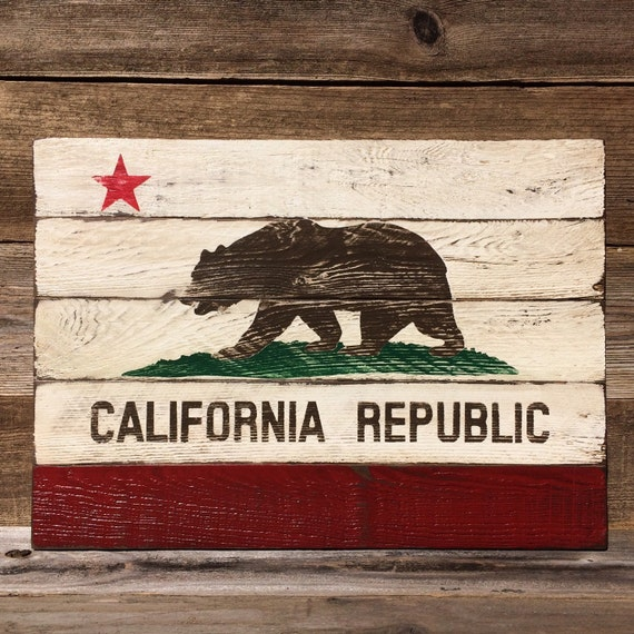 Reclaimed Flooring California: Reclaimed Wood California State Flag Painting
