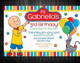 Caillou Birthday Invitation. Digitial Deivery. Custom