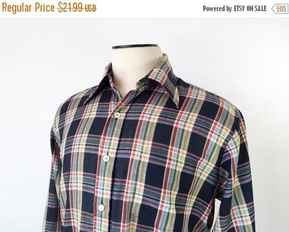Sale vintage madras shirt 1960 39 s 70 39 s men 39 s by for Mens madras shirt sale