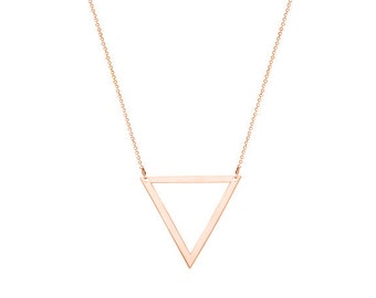 14k Solid Rose Gold Triangle  Pendant necklace made with 14k solid gold Personalized  choose engraving