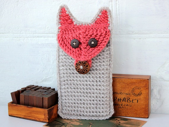 Knitting Patterns For Phone Socks : Knitted Phone Case Fox Knit Mobile Phone Cover Fox Phone Cozy