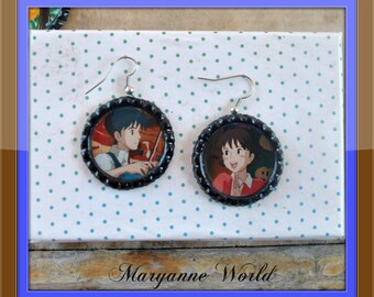Whisper of the Heart - earrings - Studio Ghibli - Hayao Miyazaki - Country Road - Ghibli earrings - Ghibli jewels