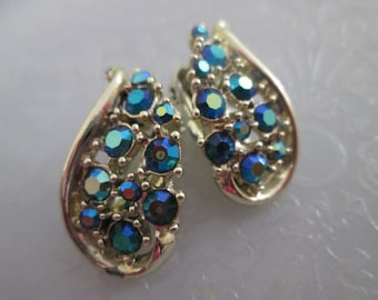 Vintage Star Blue Aurora Borealis Multi Faceted Rhinestones Silver Tone Metal Clip On Earrings Costume Jewelry