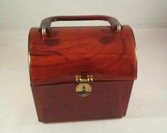 Amber Lucite Lunchbox Handbag