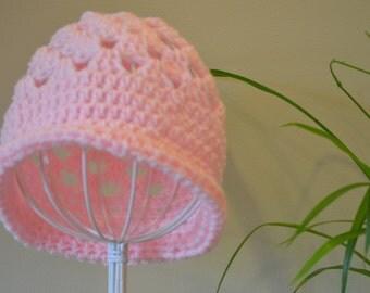 Soft Pink Crocheted Hat, Winter Hat, Chemo Beanie, Beanie Hat