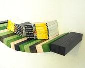 Wood floating wall shelf - green, black and white