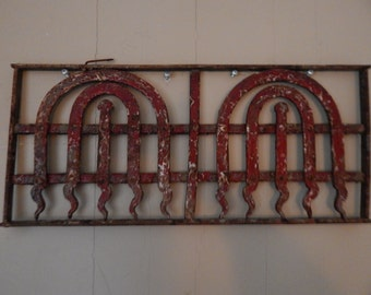 Architectural Metal Grill Vintage Red Flames