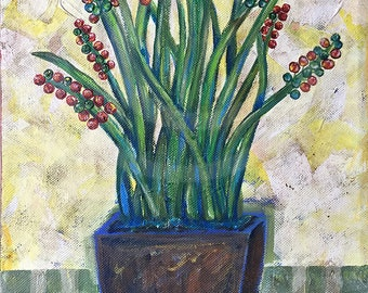 Acrylic Painting of Flower Pot - Original on Canvas - 9 x 12 - FREE SHIPPING