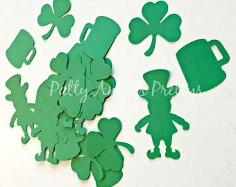 Irish Die Cuts, Leprechaun Die Cuts, Shamrock Die Cuts, Beer Mug Die Cuts, Irish Confetti, 24 Pieces
