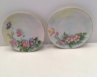 Antique  MZ Altrohlau CMR Czechoslovakia  Hand Painted Floral Plates ~ Two Plates ~ Pink & Yellow ~ Lavender and Pink ~ Salad Plate