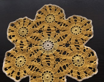 Vintage Crochet Yellow and White Doily or Doillie ~ Virginia Vintage