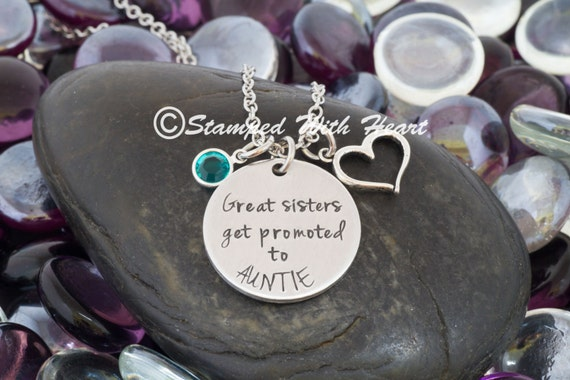 Personalized sister to aunt handstamped metal necklace gift like this item negle Choice Image